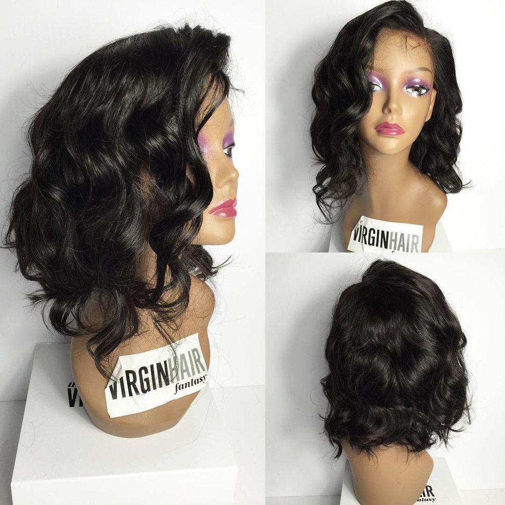Short Wavy Bob Human Hair Wigs Remy 130%