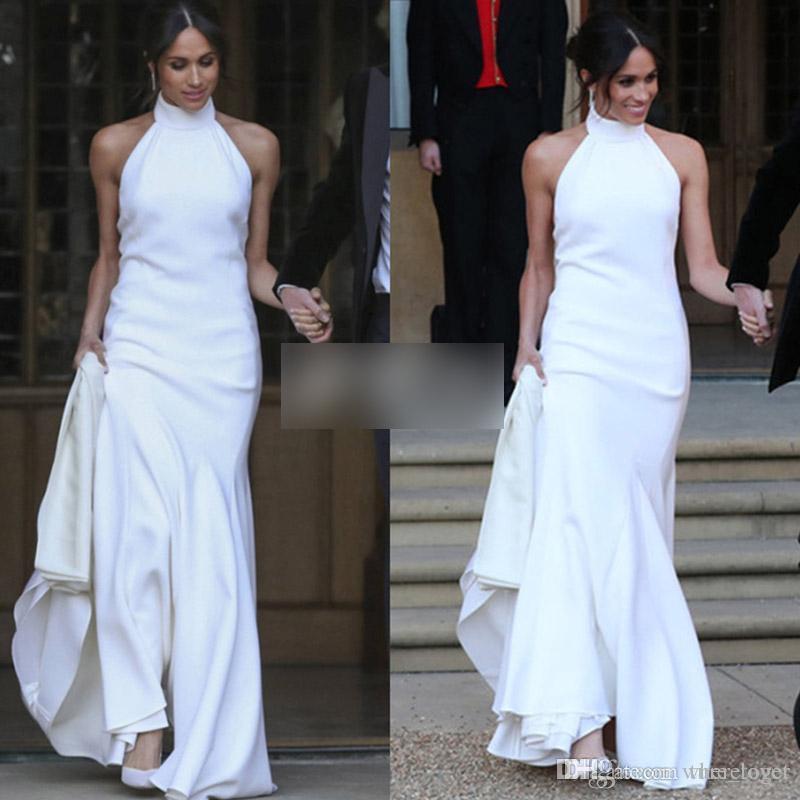 Modest white Mermaid Wedding Dresses 2018 Prince Harry Meghan Markle Wedding party Gowns Halter Simplicity Soft Satin Formal Dresses