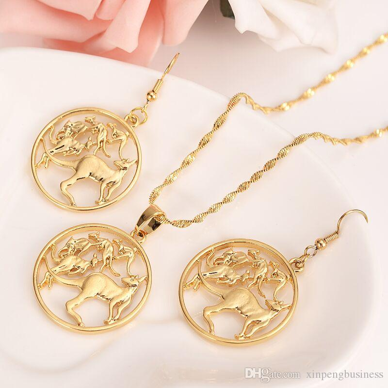 Round Frame Kangaroo Earring Pendant Necklace 14k Solid fine gold Filled Jewelry sets Australian Coin Cut New animal Vintage