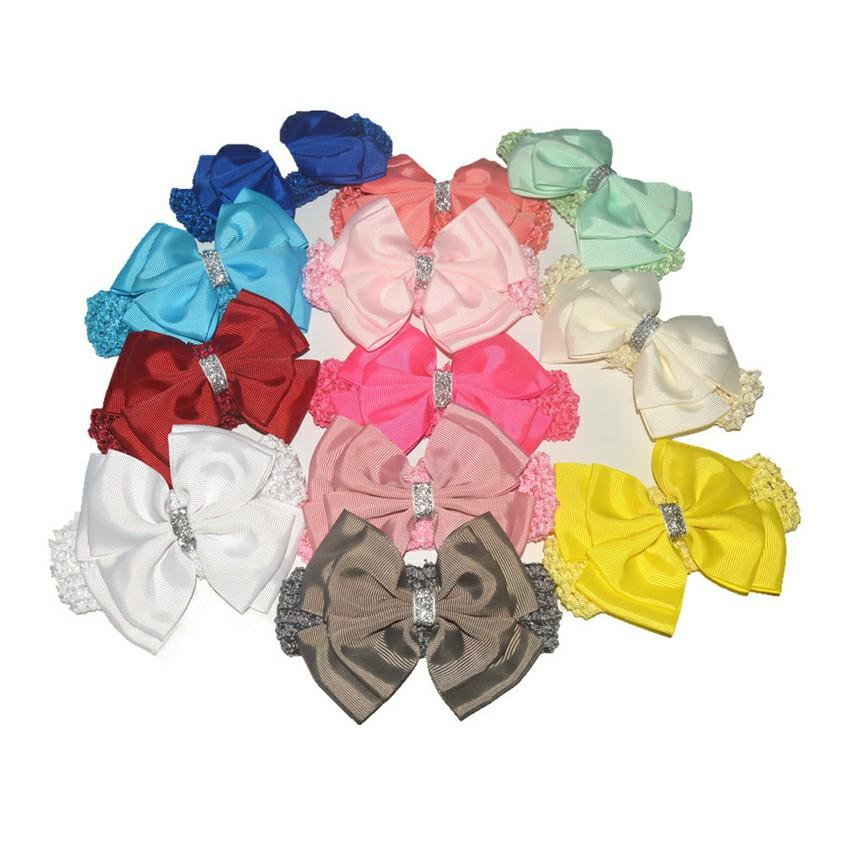 Baby Girls Headbands 4.5 inch Hair Bows Toddler Princess Hairbands Kids Fashion Elastic Accessories 25 Colors