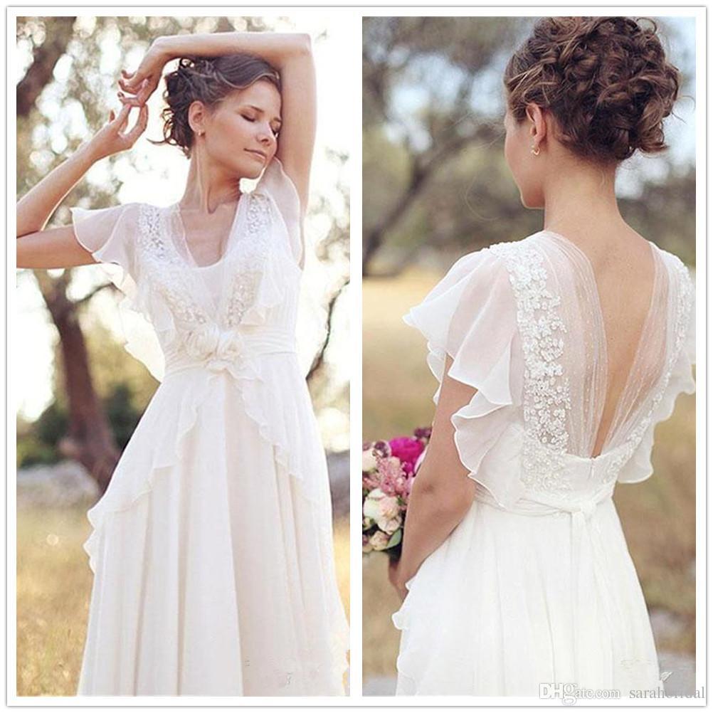 Discount 2019 Country Boho Wedding Dress Lace Chiffon Floor Length  Sweetheart Vintage Wedding Dresses Outdoor Beach Bridal Gowns Vestidos  Custom Made