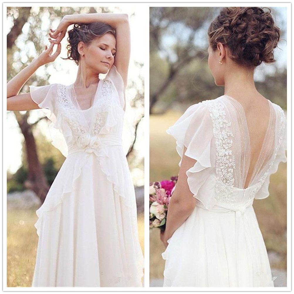 Discount 10 Country Boho Wedding Dress Lace Chiffon Floor Length
