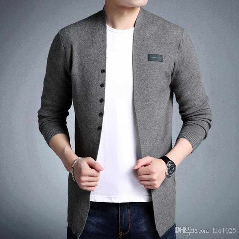 Gorący Sprzedam Średniej długości Męskie Solidne sweter Cardigan Trench Mężczyzna Dorywczo Jesień Pure Color Cardigan Sweter