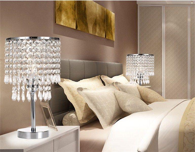 Chrome Round Crystal Kronleuchter Schlafzimmer Nachttisch Tischlampe LED  Nachtlicht Nachttischlampen Für Hochzeit Wohnzimmer Esszimmer ...