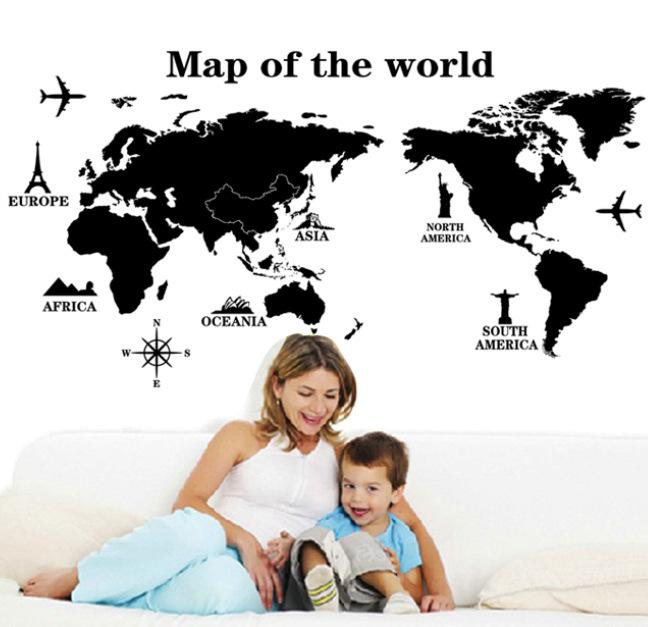 Removível mapa do mundo preto papel de parede sala de estar sofá tv fundo pvc adesivos de parede