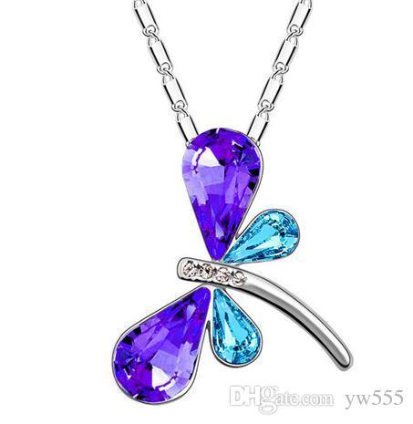 Envío gratis promoción encanto ventas al por mayor Austria calidad Crystal Dragonfly mariposa Colgante Collar moda accesorios de joyería
