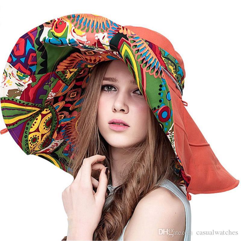 أغطية للرأس أحد القبعات للنساء الصيف شاطئ كبير قبعة زهرة المطبوعة على نطاق واسع بريم السيدات قابلة للطي الصيف Sunhat