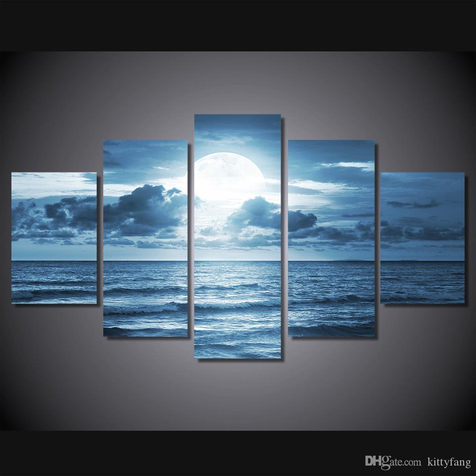 5 Piece Framed HD Printed full moon moonlight sea ocean Still Life Canvas Painting Wall Art Picture Home Decor For Linving Room
