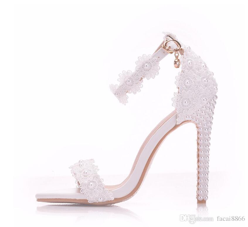 Acheter Talons De Blanches Sandales Summer Up De Pearl Femme Mariage De De Femmes Mariage Lace Chaussures Femmes Mince Hauts Fleurs Mariée Chaussures kPn0wO
