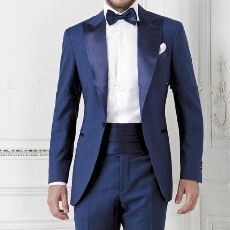Abiti Da Cerimonia Uomo Blu.Acquista Abito Da Uomo Blu Scuro Vestito Da Sposo Abbigliamento