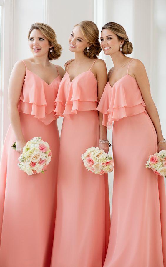 Коралл дешевые пляж подружки невесты Платья шифон длинные с бретельках оборками V шеи плюс размер свадьба пром вечернее платье платья новый