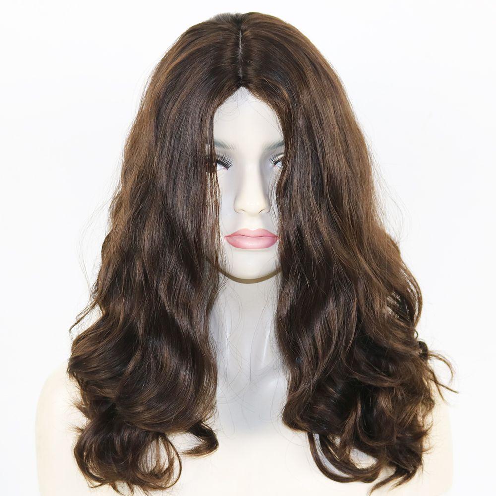 El mejor Qaility 100% de la Virgen del cabello humano de la Virgen Europea Súper ola suelta peluca judía con 4x4 Top de seda Pelos Kosher ondulado