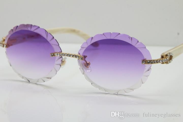 2020 cadre Hot vente moitié Rimless blanc corne de buffle Lunettes Lunettes de Soleil lunettes cadre or C Décoration