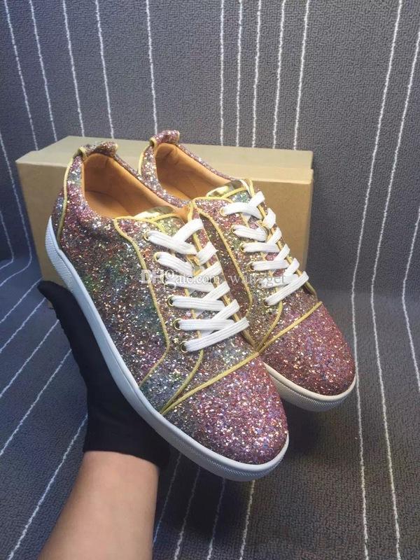 La meilleure qualité strass cristal Chaussures rouges fond Sneakers multicolores Flat Low Top Remix de Rivets Hommes Sneaker Chaussures de soirée de mariage brillant