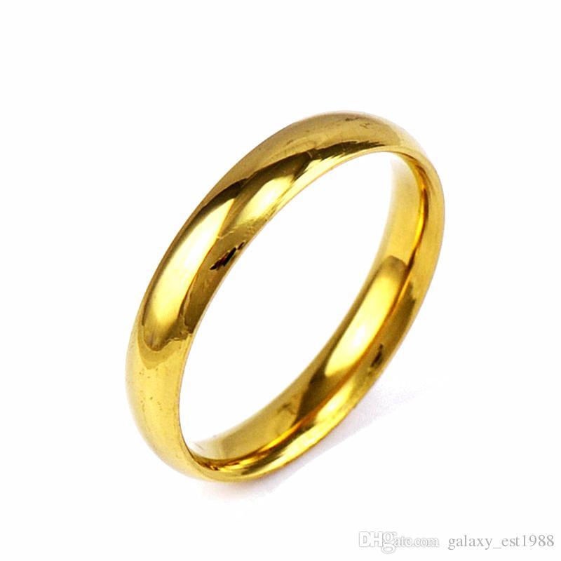 gli anelli all'ingrosso dei monili degli anelli di cerimonia nuziale dei monili della fascia di cerimonia nuziale degli uomini superiori 4mm placcati oro di 100pcs all'ingrosso squisiscono i regali