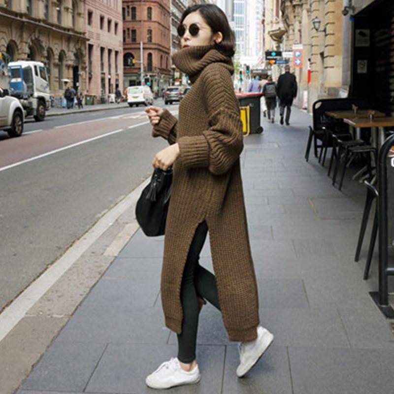 gruesa suéter de punto vestido de mujer 2018 tops de invierno vintage jersey de cuello alto suéter de cintura alta de gran tamaño tirón largo hiver femme
