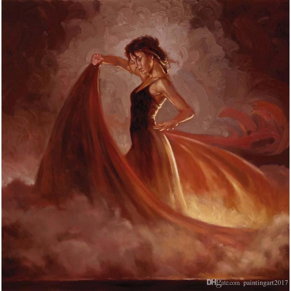추상 그림 유화 여성 오렌지 스커트 댄스 그림 수제 캔버스 회화 아트 홈 장식
