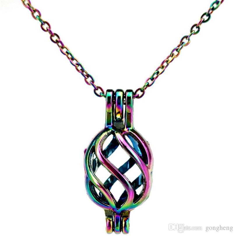 C133 arcobaleno colore ordito astratto perline cage pendente olio essenziale diffusore aromaterapia collana di perle ciondolo medaglione pendente