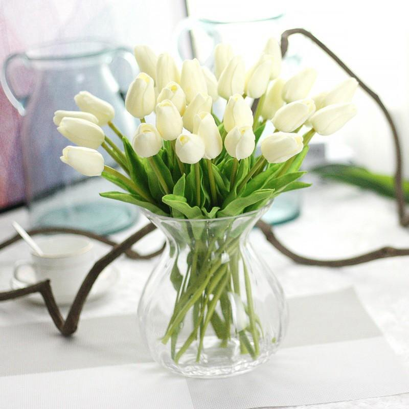 Yapay laleler Çiçek bahar ev düğün dekorasyon için flores Ucuz PU Sahte çiçekler Yapay çiçekler beyaz lale