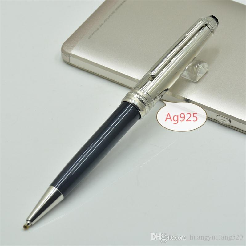 Высокое качество 163 Ag925 серебристый и черный шариковая ручка изящных канцелярских принадлежностей Марка подарочные ручки (без коробки)
