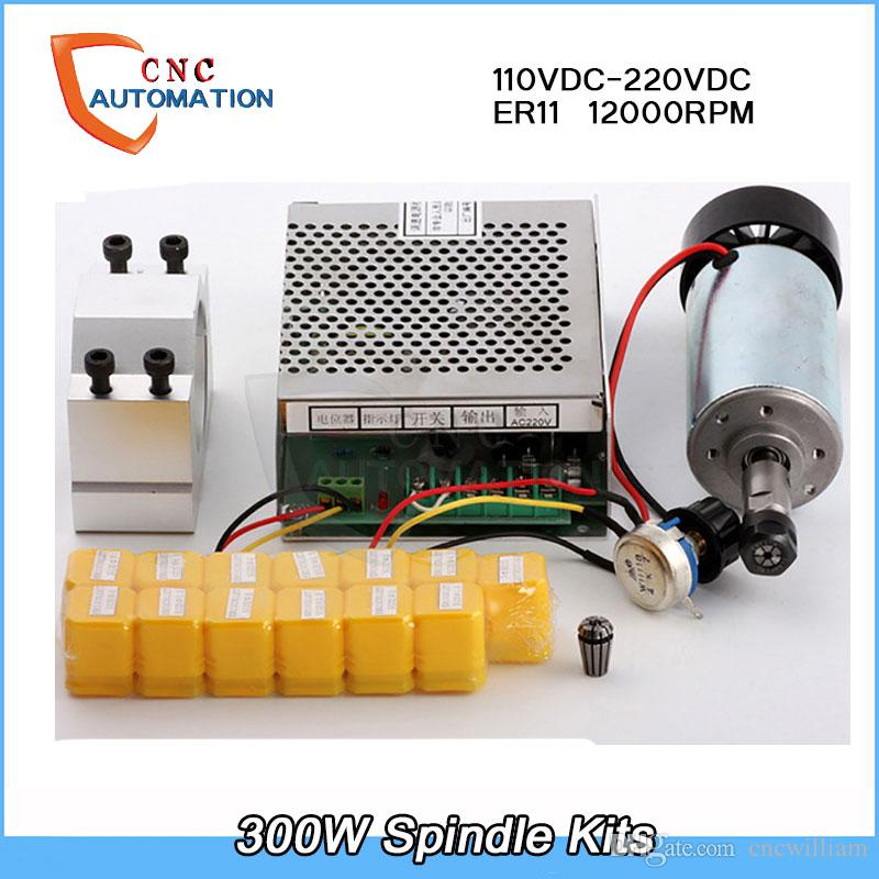0.55NM 0.3kw Air cooled spindle ER11 Chuck CNC 300W Spindle Motor + 52mm clamps+13pcs ER11 For DIY CNC