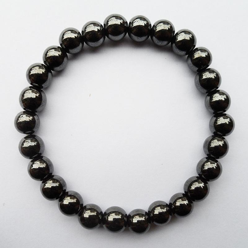 مصنع الجملة عالية الجودة رجل امرأة الصحة 8 ملليمتر الأسود المغناطيسي الهيماتيت الهولوغرام سوار المجوهرات هدية مع مرونة