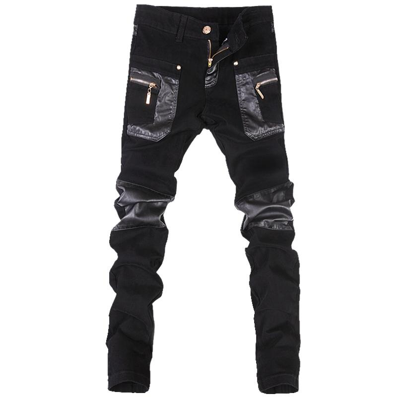 Wholesale- Korean style cool fashion Mens punk pants with leather zippers Black color Tight skenny Plus size 33 34 36 Rock trousers