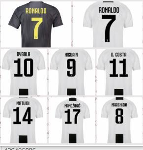 newest 68704 8ee59 2019 Men Women Youth RONALDO JUVENTUS Soccer Jersey Thai 18 19 7 JUVE CR7 9  Higuain 10 Dybala 11 Costa 17 Bernardesch 33 Football Shirt Uniforms From  ...