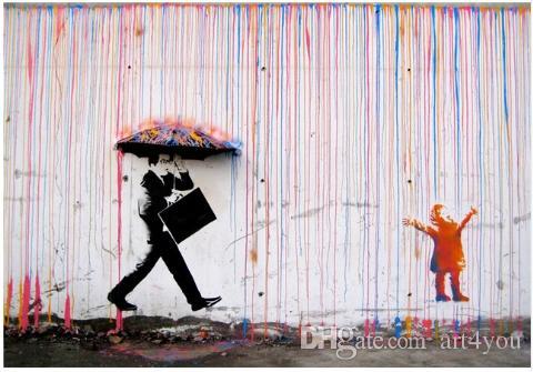 Arte de la pared pintado a mano de alta calidad HD impresión Banksy Graffiti pintura al óleo del arte abstracto decoración para el hogar en la lona múltiples tamaños g148
