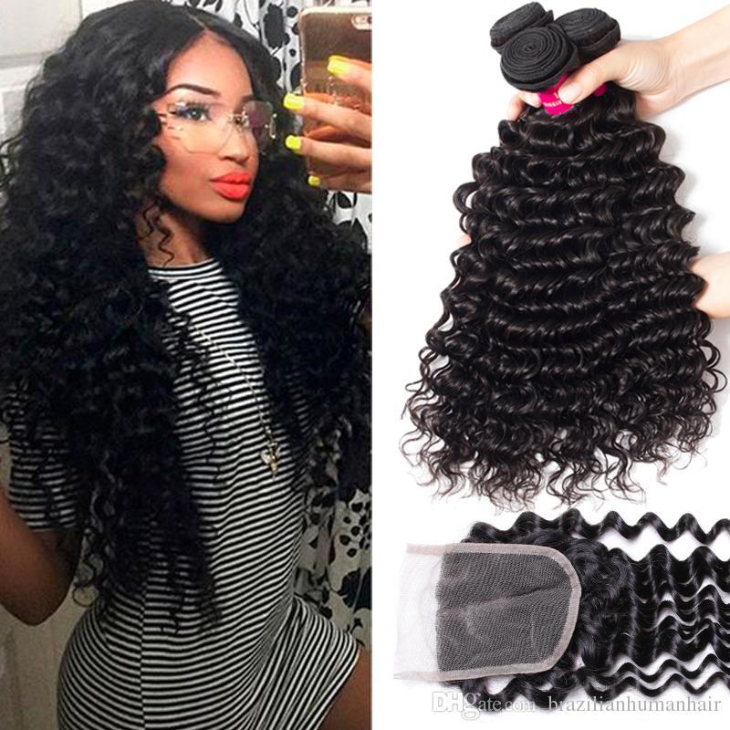 9A Paquetes de cabello humano brasileño tejidos con cierre 4x4 Cierre de cordones 100% Virgen Brasileño peruano Malasian Indian Virgin Human Hair