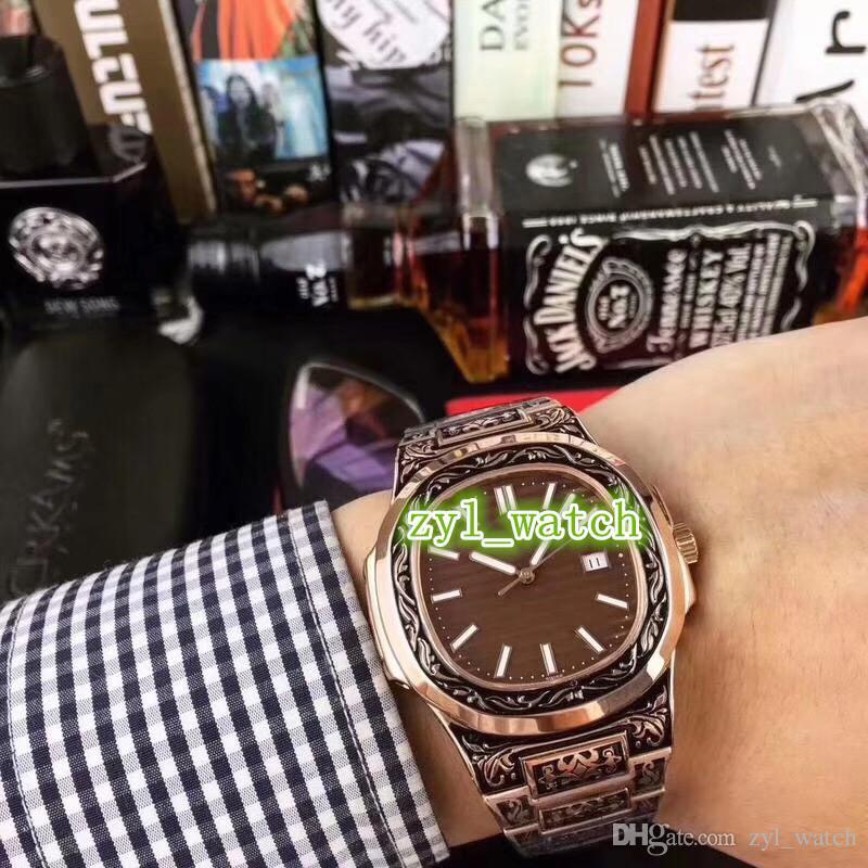 Worldwide Hot Venda de Alta Qualidade Moda Assista Rose Gold Esculpido Relógios Men Automatic Watch frete grátis