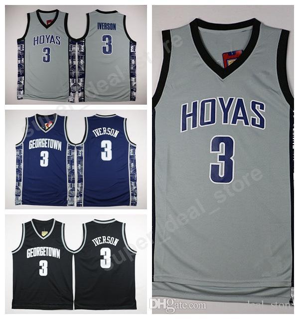 Georgetown Hoyas College College Jerseys Black Blue Grey Basketball 3 Allen Iverson Jersey Hommes Sport Grossiste Prix le plus bas