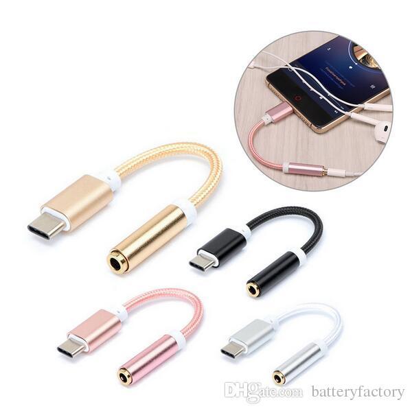E-EDC의 USB 타입 C 3.5 이어폰 어댑터 종류-C에 샤오 미 6 Letv 르 2 3.5mm의 헤드폰 AUX 오디오 케이블 변환기