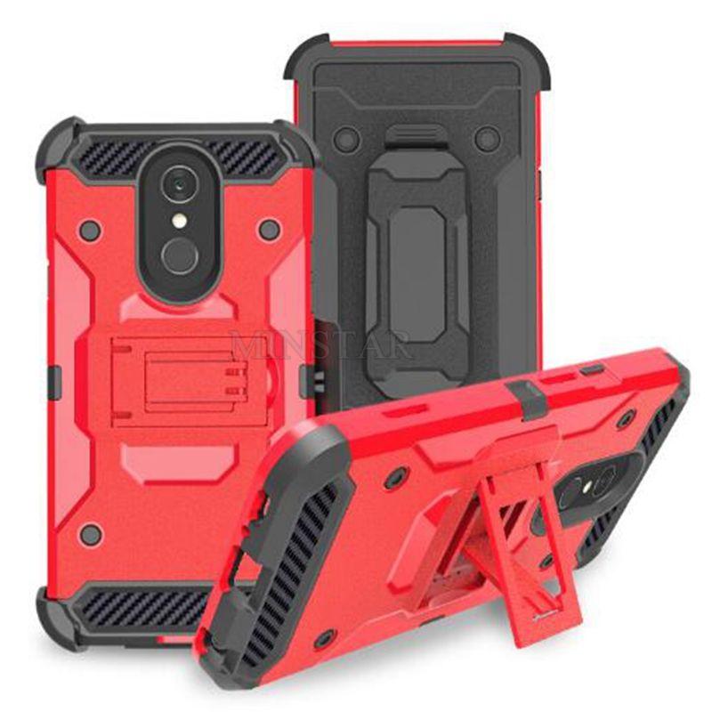 Per LG Stylo 5 3 Aristo 4 Cover Plus K30 K40 2019 X Potenza 2 V7 Q7 V30 V40 anteriore dura del PC Robot Defender con clip da cintura 3 in 1 Custodia protettiva