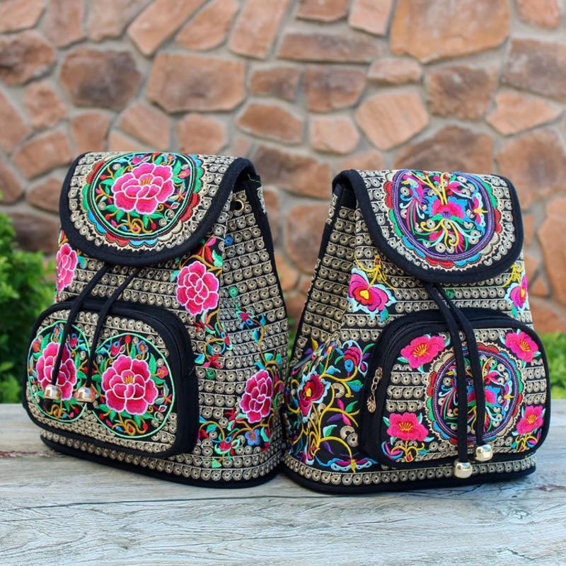 2018 Mochila Mulheres Bagpack Sac A Dos Femme Nacional Bordado Flor Mochila de Volta Saco de Escola Sacos De Mochila Para Meninas Adolescentes