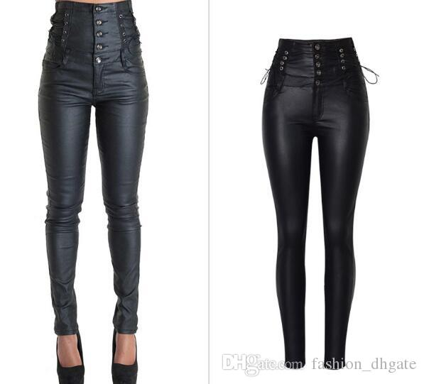 Multi Buttons 2018 Jeans de cintura alta para las mujeres Pantalones vaqueros del estiramiento de la PU Tallas grandes para mujer Pantalones delgados del lápiz Pantalon Femme con cordones pantalones