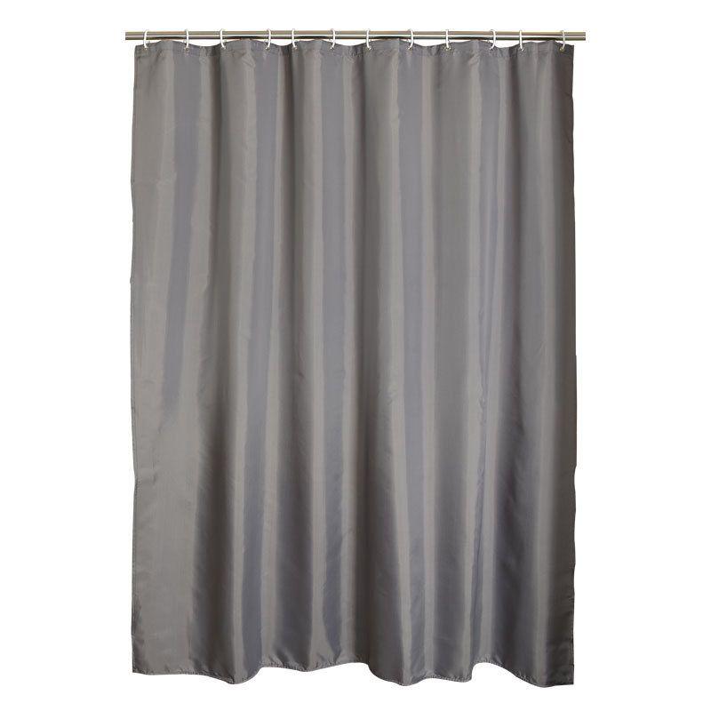 Cortinas de ducha de la prenda impermeable del cuarto de baño del poliéster gris con los ganchos plásticos