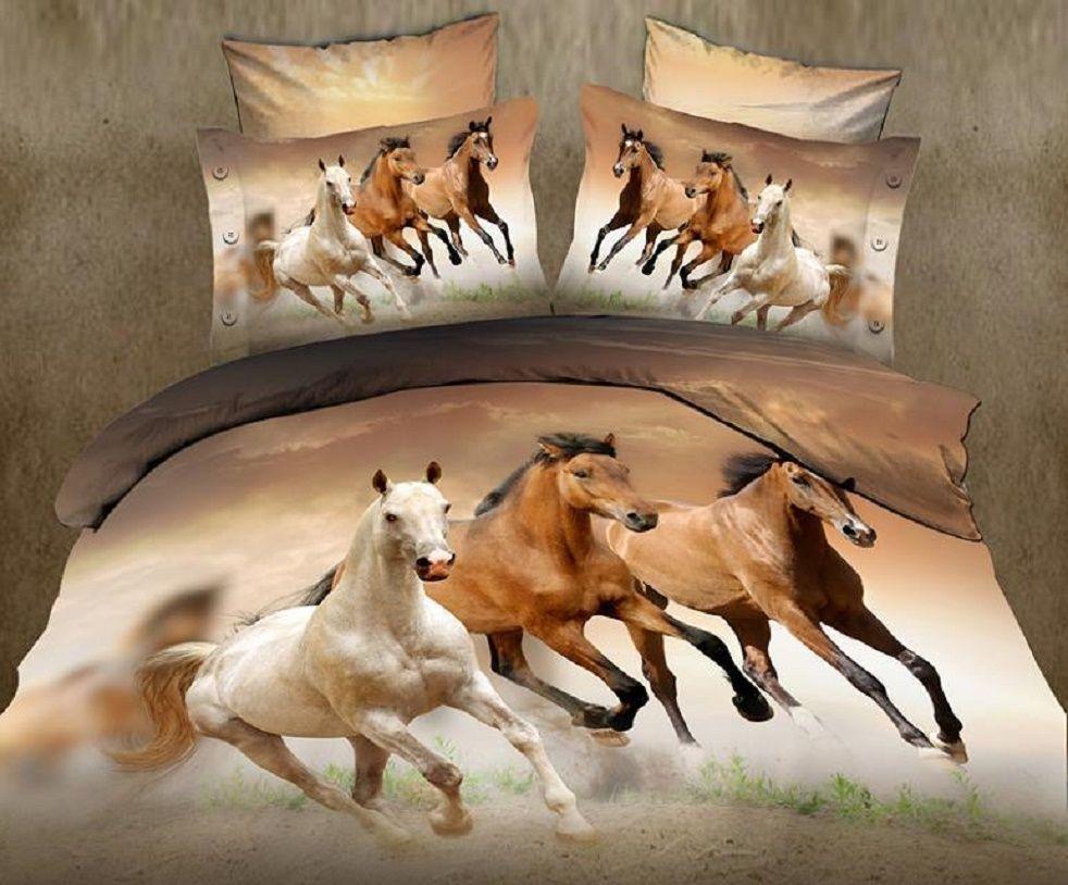 Venta caliente 3D caballo de los animales rey doble completo ropa de cama colcha fundas de edredón funda nórdica juego de cama
