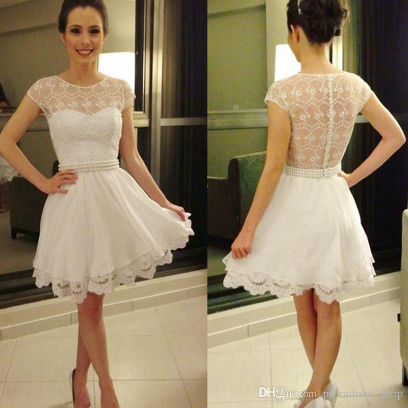 Free Shipping Sheer Short Homecoming Dresses 2019 Jewel Lace Beaded A line Party Cocktail Gowns Covered Buttons Custom made