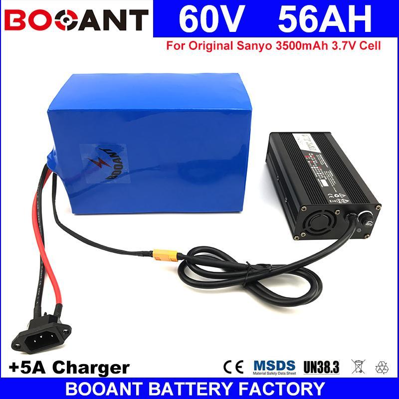 Kostenloser Versand 60V 56AH Lithium-Ionen-Batterie-3500W E-Bike Elektrische Batterie 60V für ursprüngliche Sanyo GA 18650 + 5A Ladegerät 70A BMS