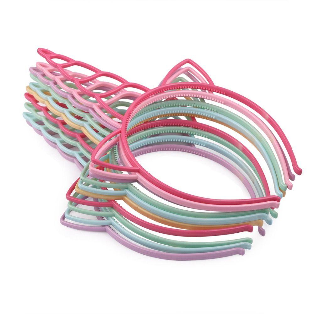 12pcs/set Cute Cartoon Unicorn Headbands Girls Kid Women ABS Plastic Hair Hoop for Party Hair Accessories