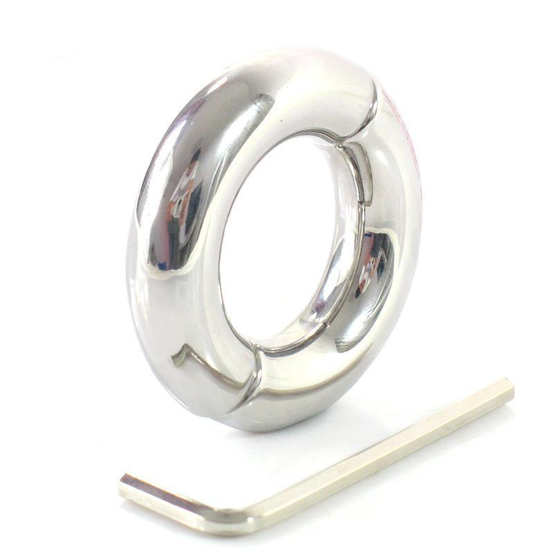 Maschio anello del pene in acciaio inox scrotum bondage peso palla barella cockring cock rings giocattoli adulti del sesso per gli uomini sul dildo Y18110302