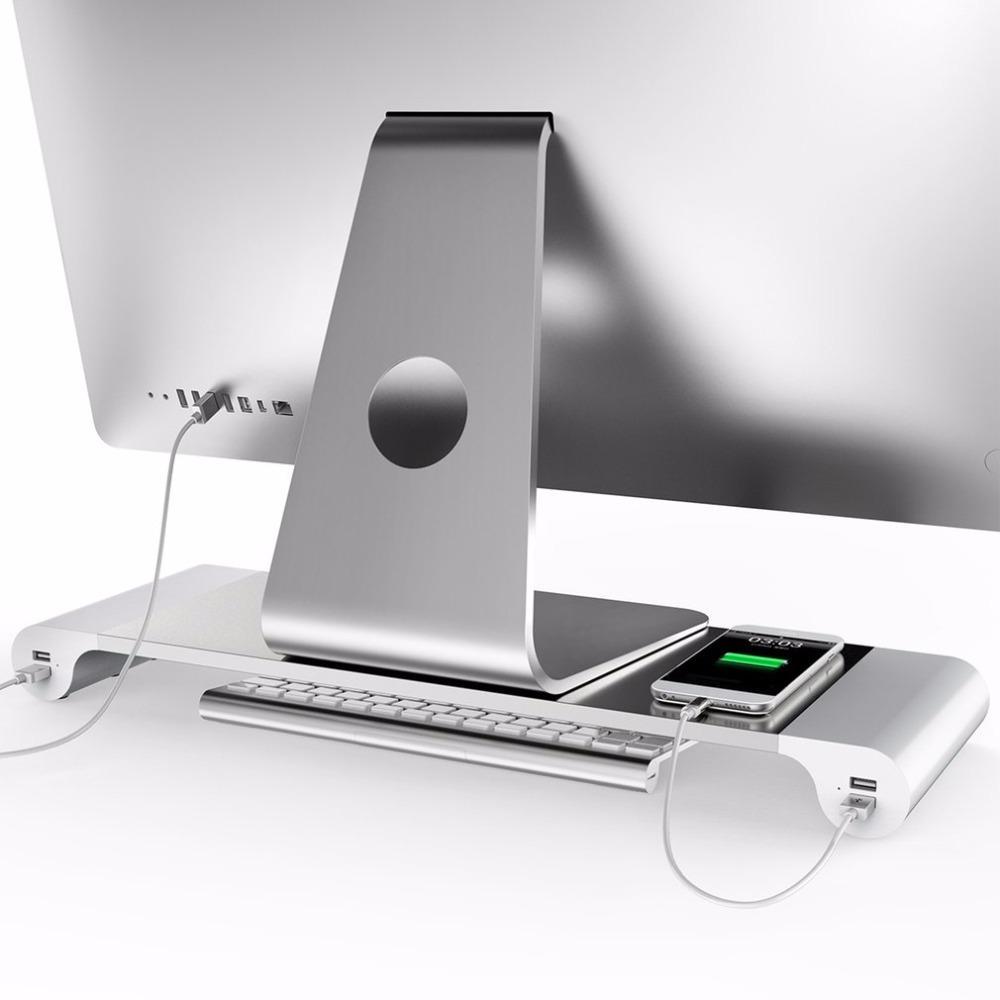 Livraison Gratuite En Aluminium 4 Ports USB Ordinateur Portable Ordinateur Porte-Moniteur Support Économiser L'espace Augmenter Stand Pour PC Ordinateur Pour Apple + US EU Plug