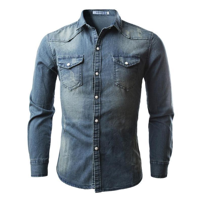 2018 Hot Sale Fashion Style Jeans de los hombres Camisas Casual Slim Fit Elegante manga larga Washed Hombre Solid Denim Camisas Tops