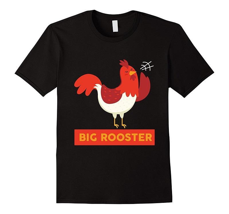 Barato Camisetas Engraçadas Grande Galo Agrícola Animais Tripulação Pescoço de Manga Curta Mens T Shirt