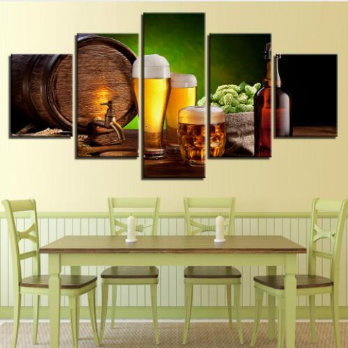 5 Pieces Beer And Wine Glass Kitchen Decor Modular Pictures HD Canvas Painting Modern Home Decor Pictures Frameworks