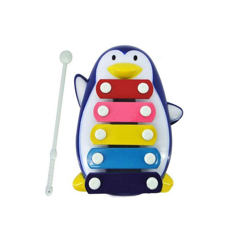 Baby Kid 5-Note Xilófono Juguetes musicales Desarrollo de sabiduría Pingüino azul negro