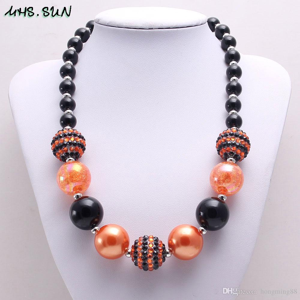 Fashion Black+Orange Color Halloween Girl Kid Chunky Beads Necklace Newest Halloween Bubblegum Bead Chunky Necklace Jewelry For Children