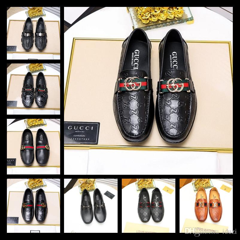 Top Luxury 2019 Brand Men Dress Shoes Man Genuine Leather Women Peas Wedding Shoes Fashion Shoes With Box Size 38 45 Wedge Shoes Casual Shoes For Men