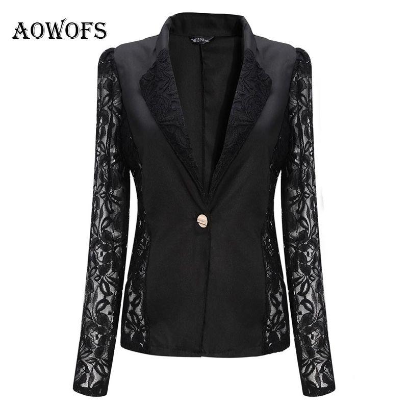 Chaqueta blanca de las mujeres de encaje Patchwork trabajo formal negro chaqueta de la capa corta femenina delgada Blazers de manga larga con un solo botón traje de las mujeres L18101302